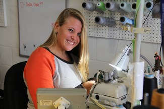 Kim Oakes is seen here making swimsuits at KaiKini Bikinis' warehouse in Kapa'a.