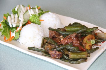 Pinakbet is a popular Ilokano dish from Northern Philippines. This is served with pork and lots of vegetables; bittermelon (used to treat high-blood pressure), eggplant, okra, tomatoes, string beans, pumpkin and others.