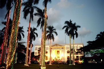 The Historic County Building in Lihu'e dressed up in lights for the annual Festival of Lights. Contributed photo