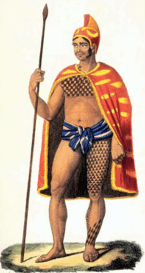 Engraving titled 'Hawaiian Officer in Grand Costume,' circa 1825, after an 1819 drawing by Jacques Arago.