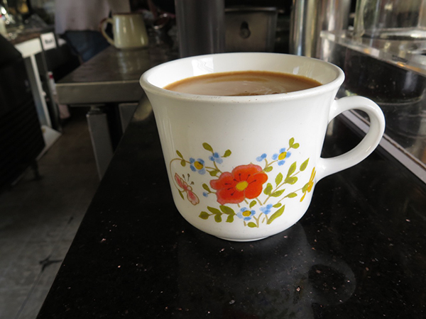 My every morning Americano in my every morning mug. Bring your own mug and get 25 cents off your coffee, or ask for one of our ceramic mugs and help save the Earth by choosing reusable vessels for your coffee.