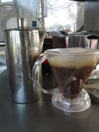 At Small Town Coffee, we make coffee in these ways: drip brew, espresso, 20-hour cold brew, and pictured here, French press, or immersion dripper. Each method accents a different quality of the bean. Our cold brew is made with a honey-processed coffee (not made with honey, but processed with sun and water), which gives the finished cup a thicker body and an almost boozy aftertaste. The immersion dripper brings out a clean cup where you can taste the layers of flavor.