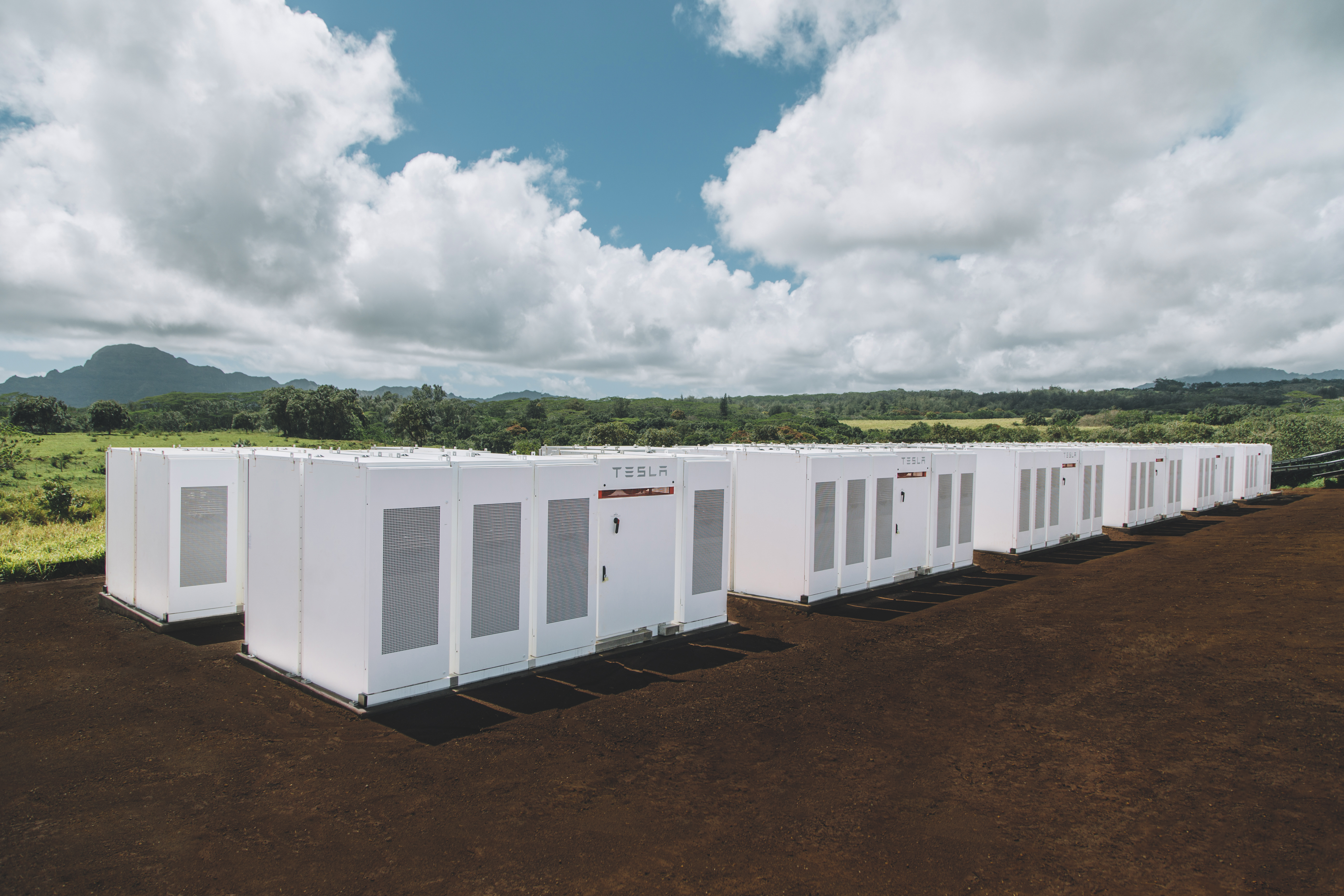 A total of 272 Tesla Powerpack lithium-ion batteries provide for 52 megawatt hours of solar dispatch during Kaua'i's evening peak
