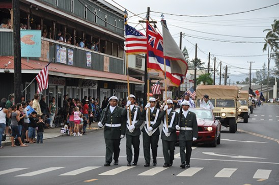 Kapa'a High School ROTC members during a past Veterans Day Parade in Kapa'a. Photo by Mike Hough/KBA