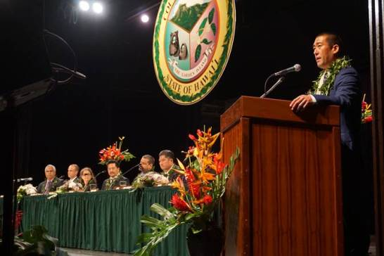 Mayor Derek Kawakami addresses a crowd of more than 450 Monday at the 2018 County of Kaua'i inauguration at the Kaua'i War Memorial Convention Hall. Contributed photo