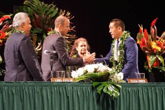 Mayor Derek Kawakami, right, and Councilmembers, left to right, Kipukai Kuali'i, Luke Evslin and Felicia Cowden were sworn into office Monday. Contributed photo