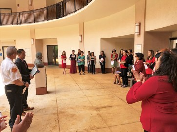 Mayor Derek Kawakami proclaimed April 2, 2019, as Equal Pay Day on Tuesday in front of a crowd of approximately 25 people. Contributed photo