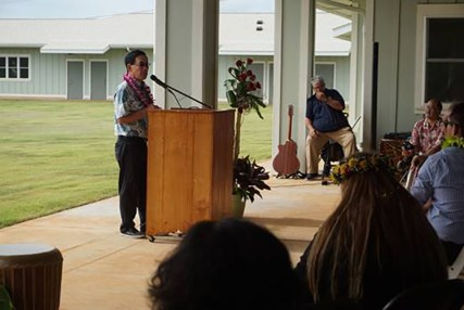 Grove Farm's President and CEO Warren Haruki addresses a crowd of more than 100 people on Thursday at the grand opening of the Adolescent Treatment and Healing Center. Photo courtesy of County of Kaua'i