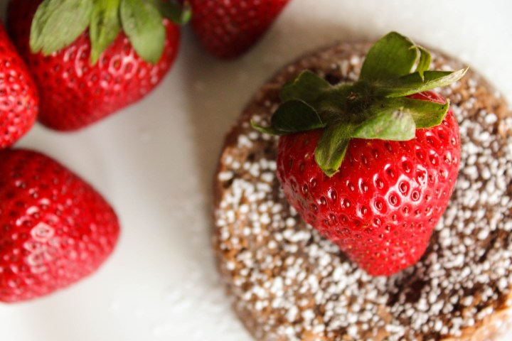molten chocolate cake with whole strawberry