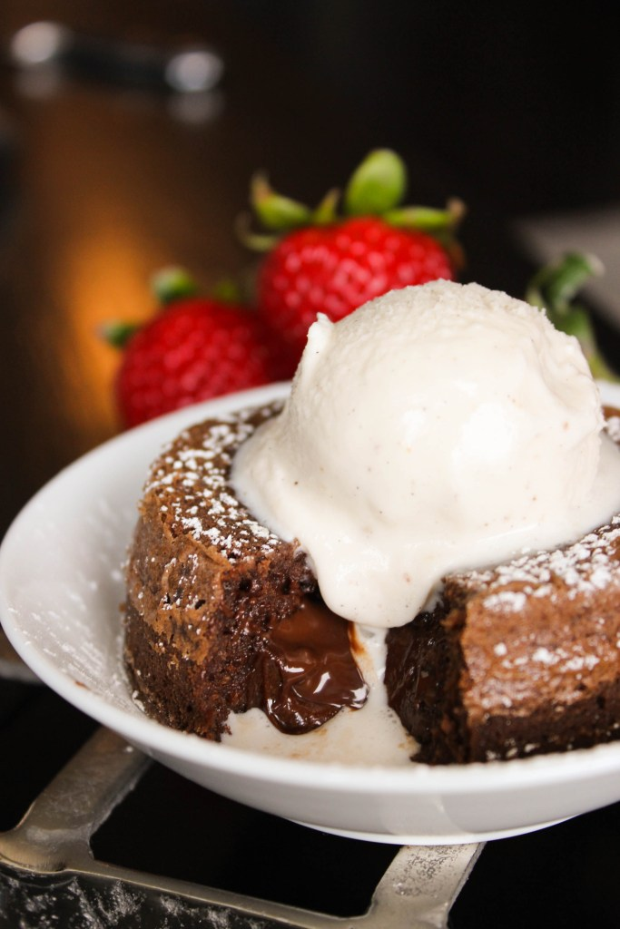 molten chocolate cake with melting ice cream