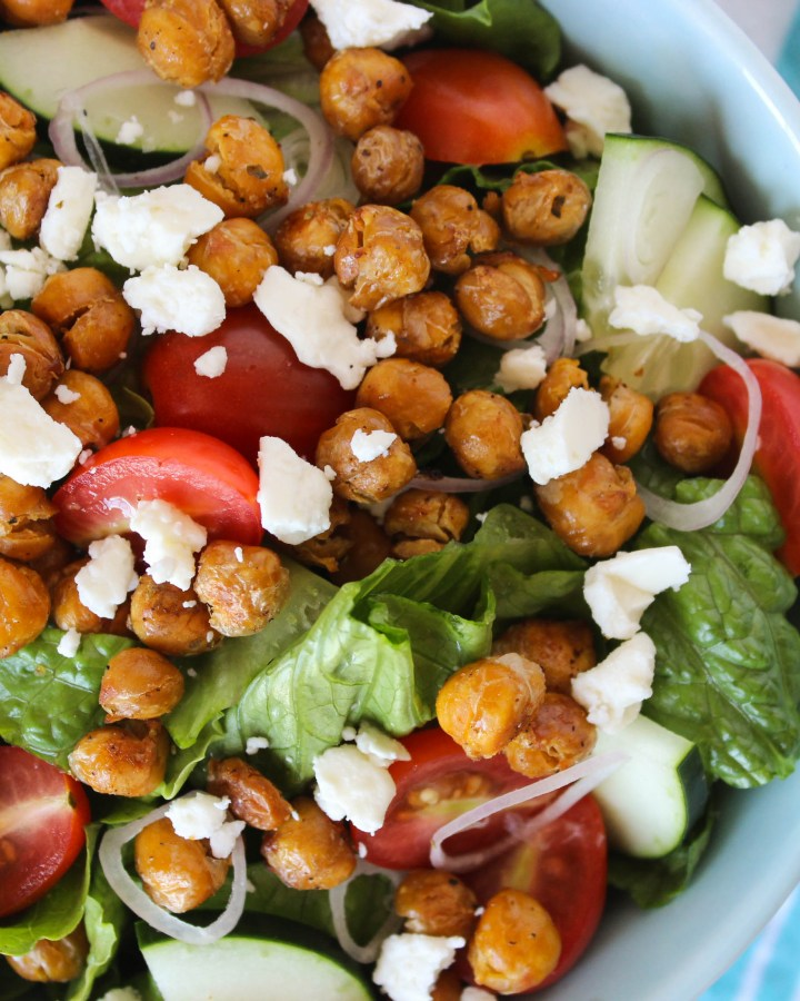 Roasted Chickpea Greek Salad with Lemon-Herb Dressing