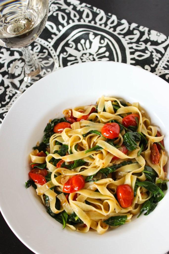 Tomato and Spinach Tagliatelle Pasta
