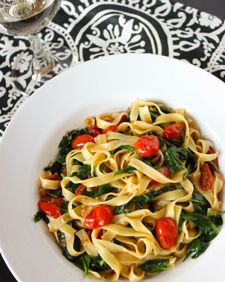 Tomato and Spinach Tagliatelle Pasta