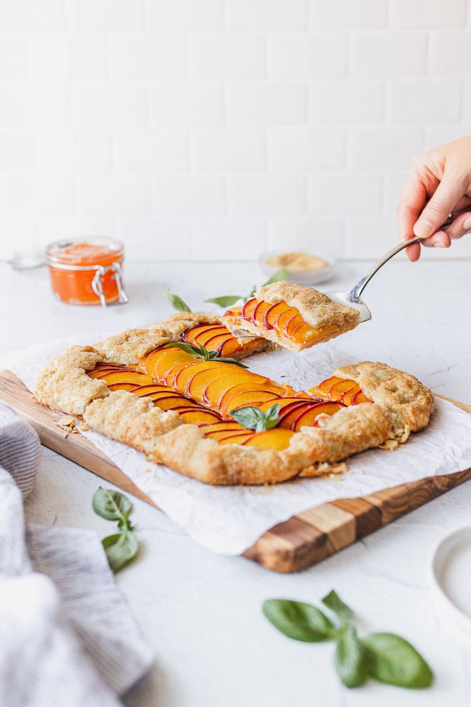peach galette being served