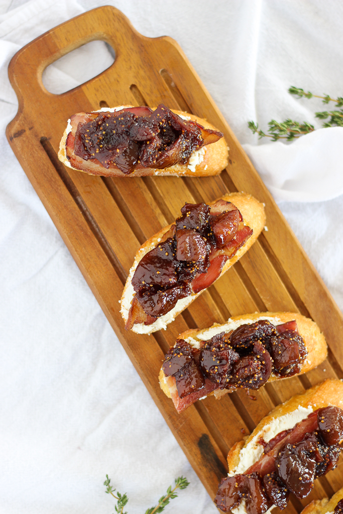 Fig Compote, Bacon, and Goat Cheese Crostini
