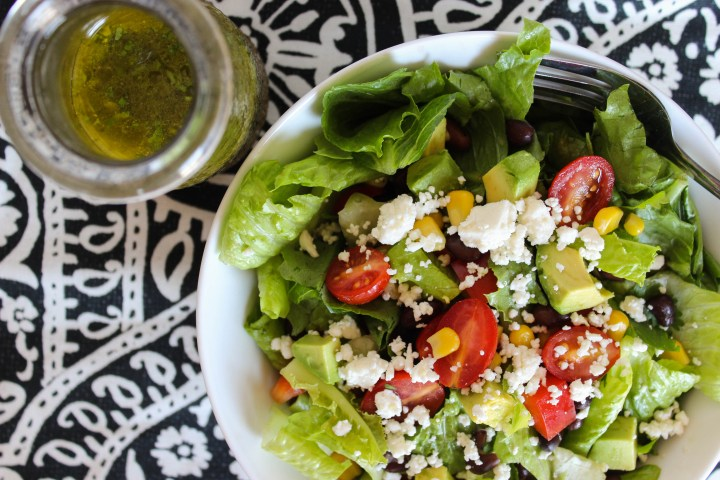 southwest salad with honey-lime dressing