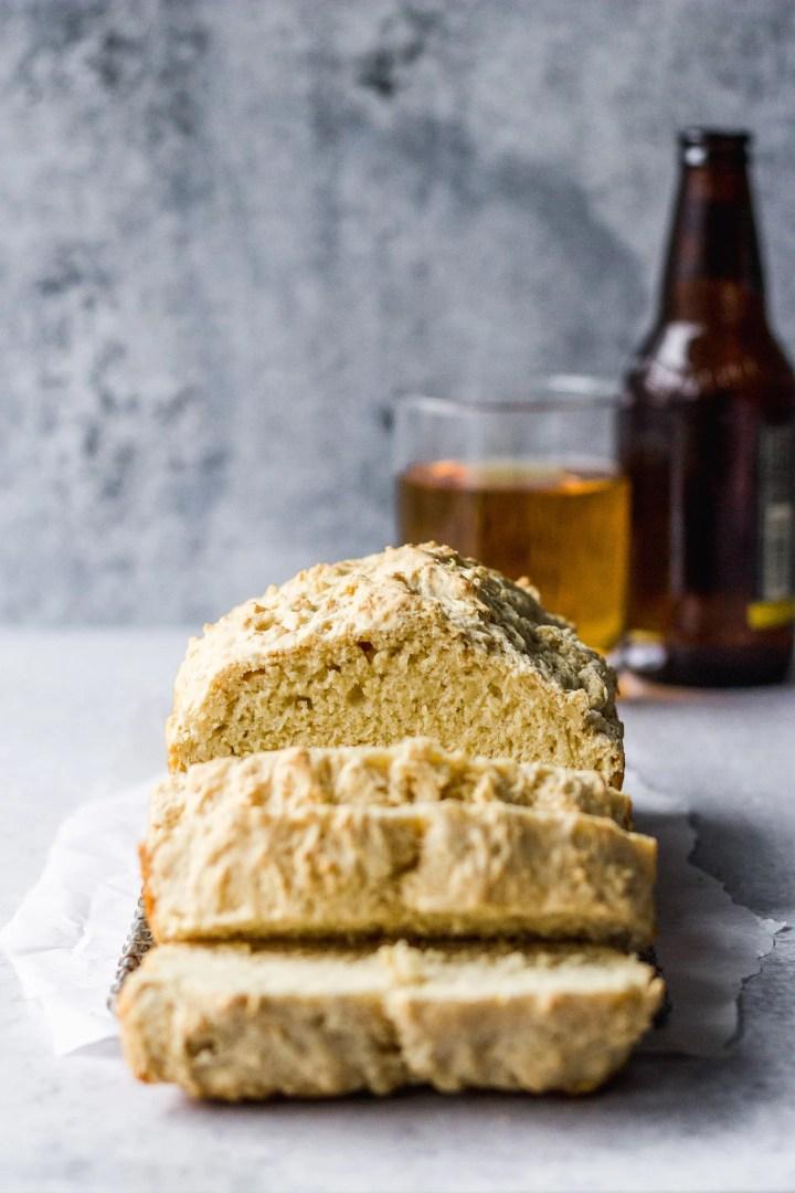 beer bread loaf sliced