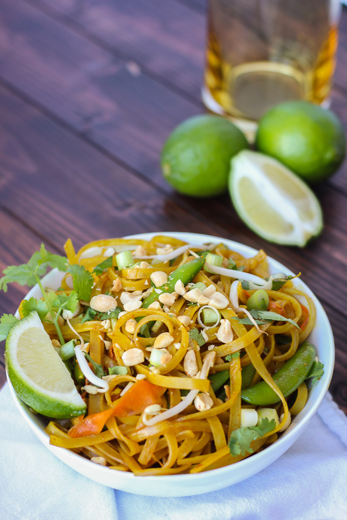 "Vegetable Pad Thai - the perfect at-home ""take out"" dish, bursting with flavor, freshness, and spice!"