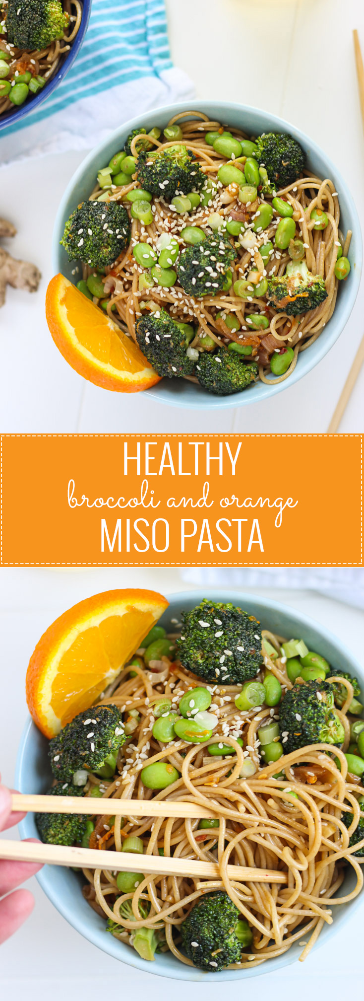 """Healthy Broccoli and Orange Miso Pasta - ready in under 30 minutes and will satisfy your """"take out"""" craving!"""