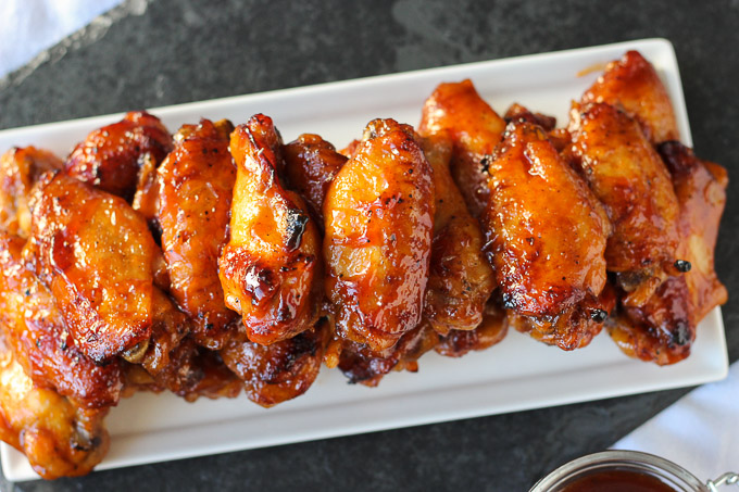 white tray with bourbon bbq wings