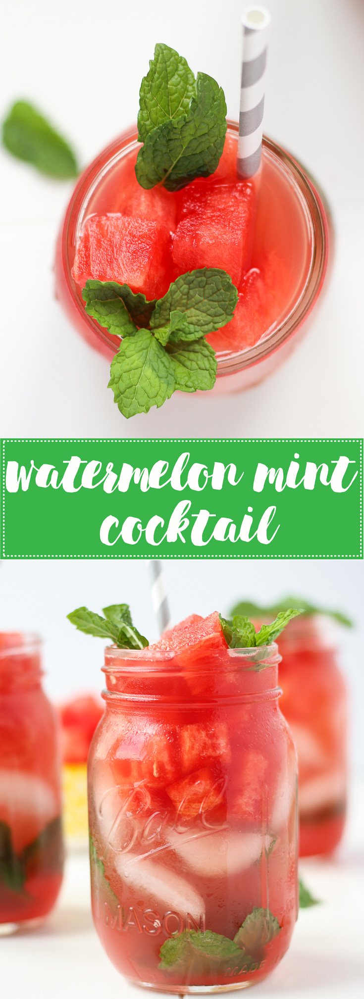 Watermelon Mint Cocktail - a light, refreshing, and healthy-ish way to enjoy an adult beverage this summer - bursting with fresh watermelon juice and fragrant mint leaves!