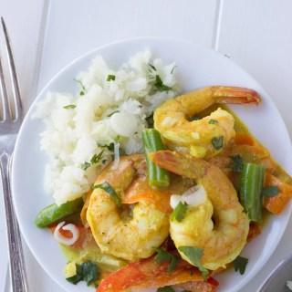Coconut Shrimp Curry with Cauliflower Rice