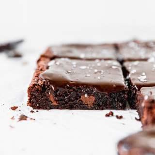 side view of mocha brownie with espresso ganache