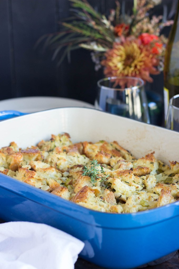 Vegetarian Herbed Stuffing/Dressing in blue casserole dish