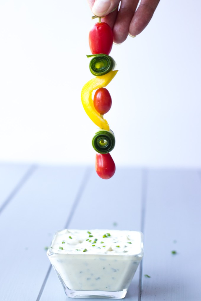 Veggie Skewers with Creme Fraîche Dip // Fork in the Kitchen