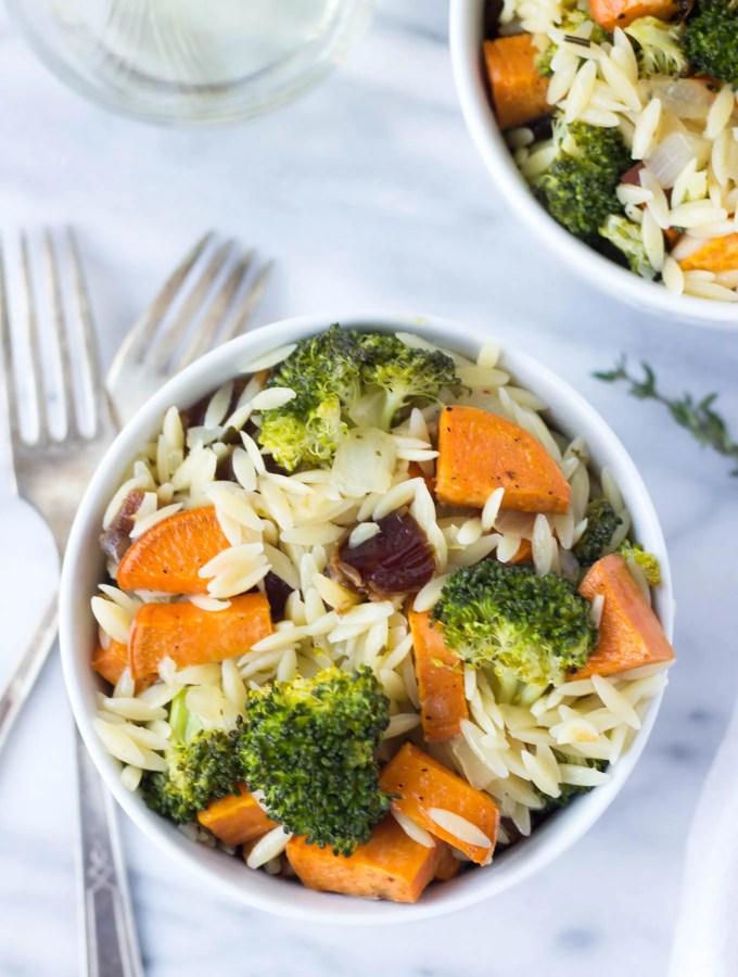 Roasted Broccoli & Sweet Potato Orzo Pasta
