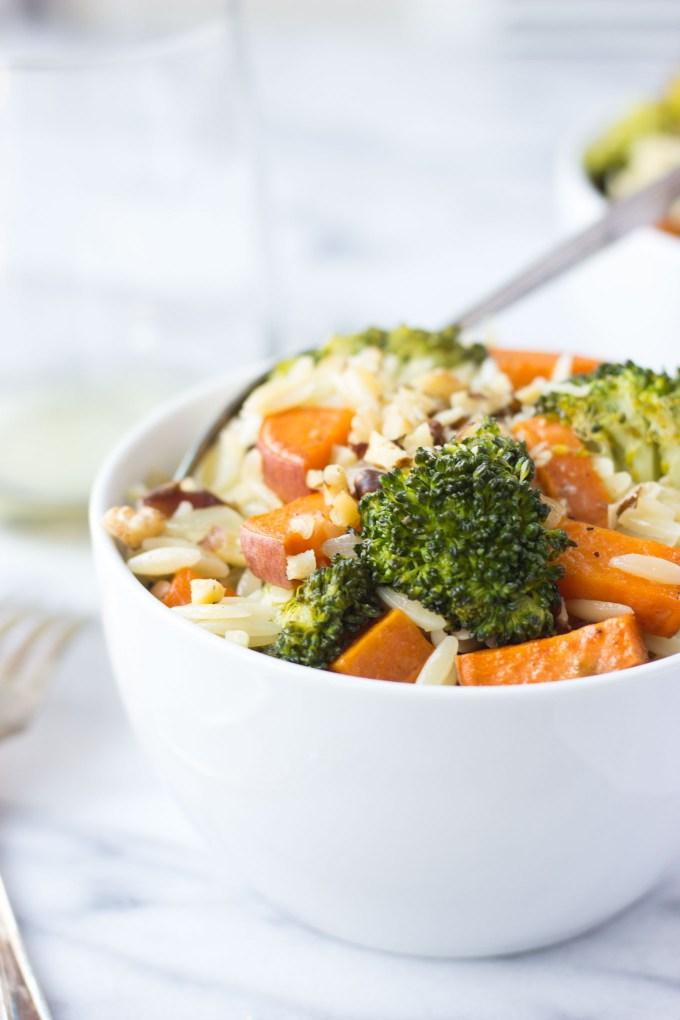 Roasted Broccoli & Sweet Potato Orzo Pasta // Fork in the Kitchen