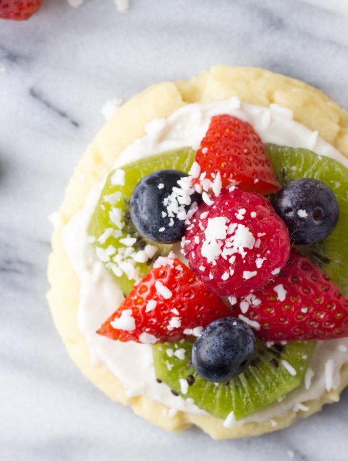 Individual Fruit Pizzas with Coconut Whip