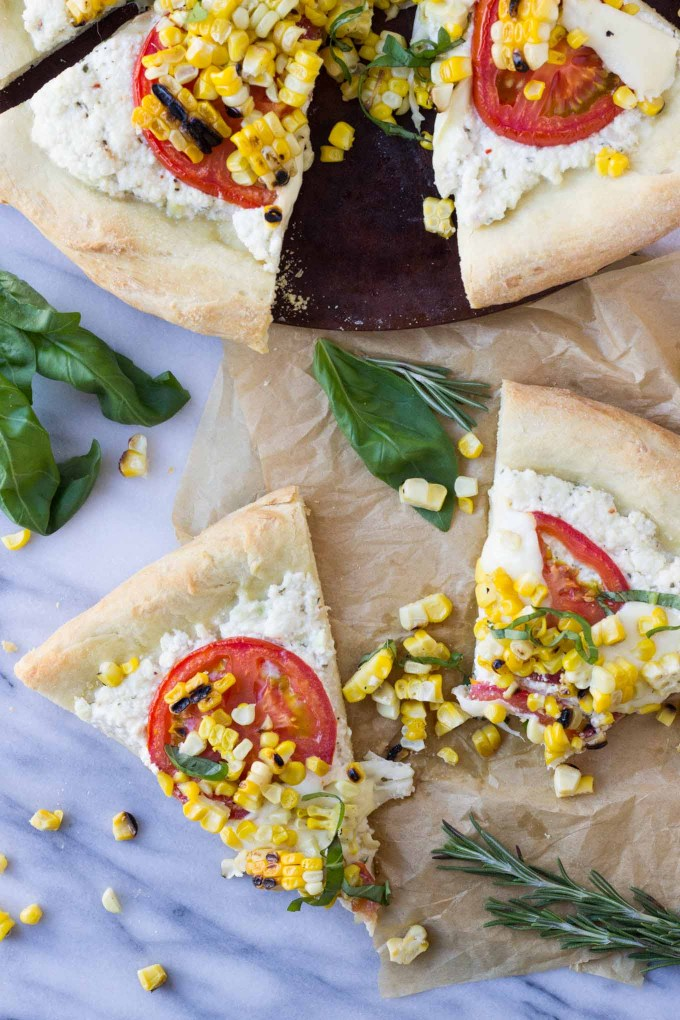 Charred Corn Pizza with Roasted Tomatoes | Fork in the Kitchen