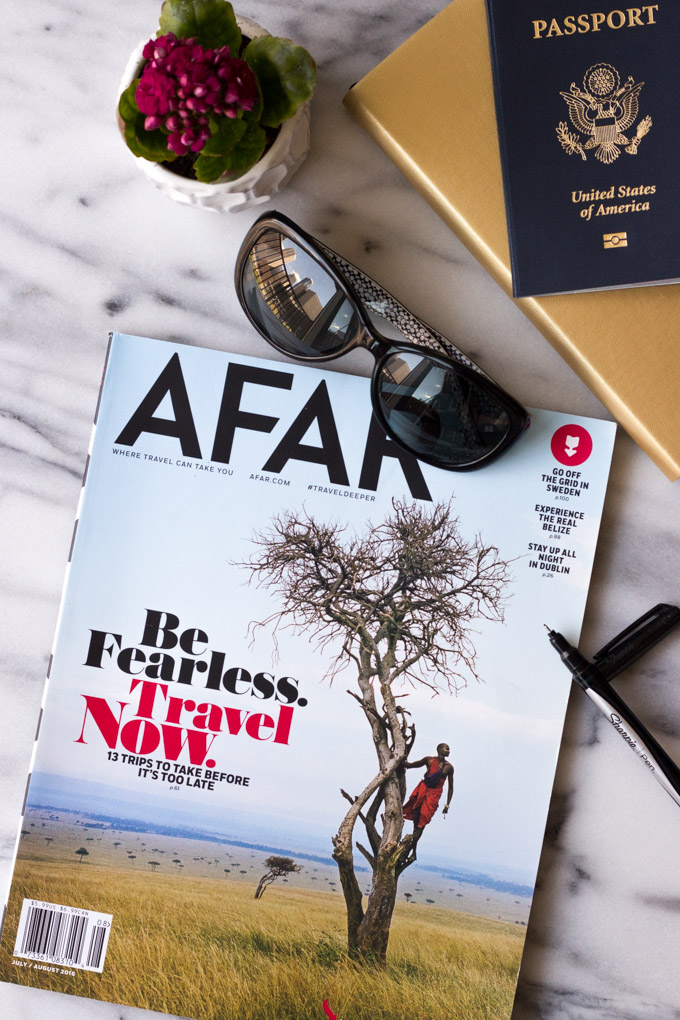Be Fearless - magazine, sunglasses, journal, passport, ready for travel! | Fork in the Kitchen