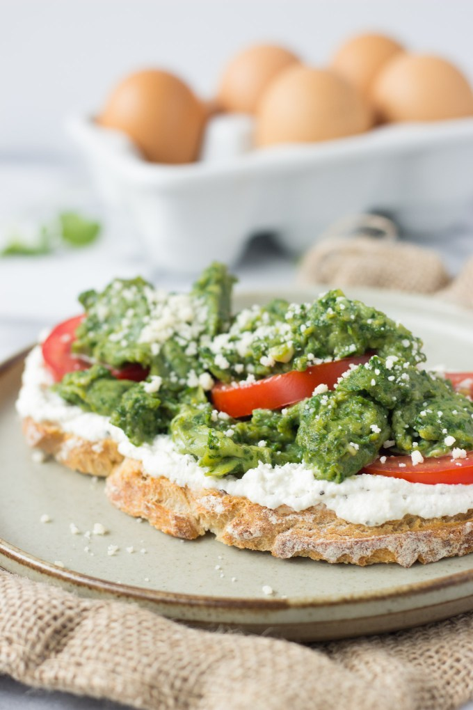 Spinach Eggs and Ricotta Toast - a quick, healthy, delicious breakfast!   Fork in the Kitchen
