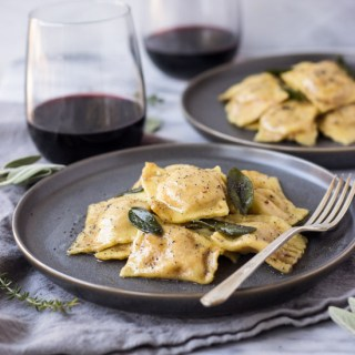 Roasted Butternut Squash Ravioli with Brown Butter Poppy Seed Sauce