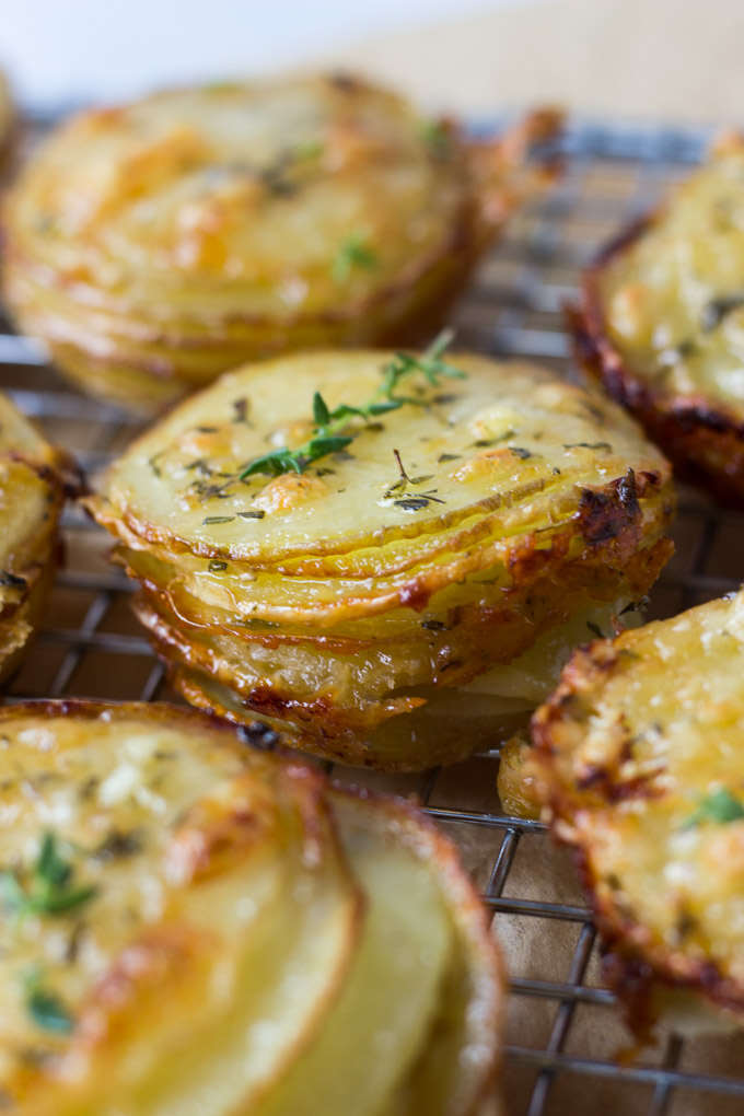 Gruyere and Thyme Stacked Potatoes - a recipe perfect for a Thanksgiving side or appetizer! | Fork in the Kitchen