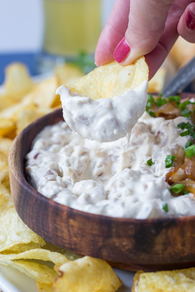 Caramelized Onion and Garlic Dip - a new version of a classic favorite, with caramelized shallots and roasted garlic! Best served with crunchy potato chips!   Fork in the Kitchen