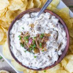Caramelized Onion and Garlic Dip - a new version of a classic favorite, with caramelized shallots and roasted garlic! Best served with crunchy potato chips! | Fork in the Kitchen