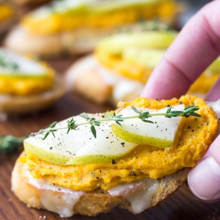 Butternut Squash and Pear Crostini