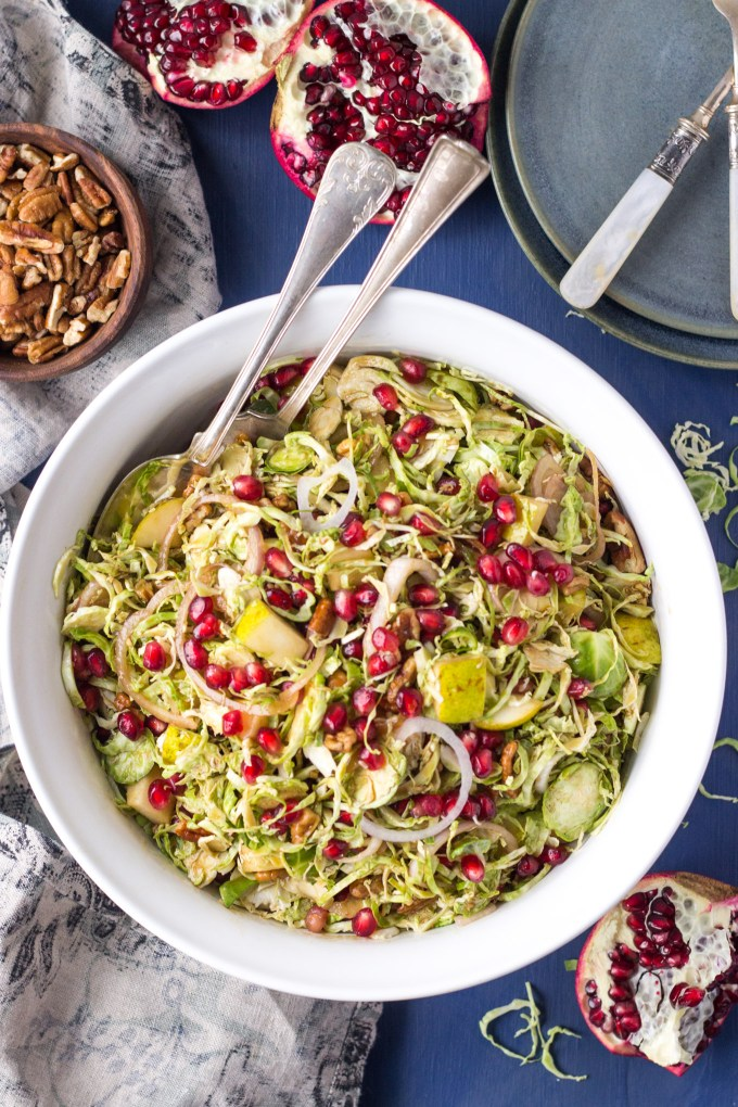 Winter Balsamic Shaved Brussels Sprout Salad - a healthy side or main, it's perfect for the holidays or a week night dinner! | Fork in the Kitchen