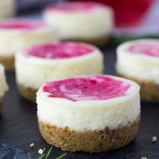 Mini Cranberry Pistachio Cheesecakes