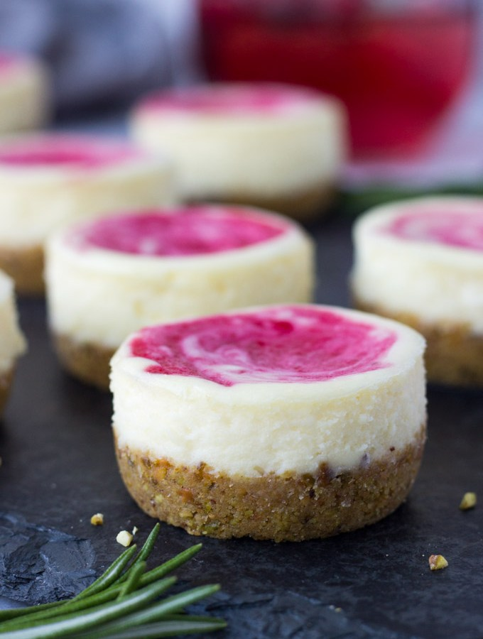 Mini Cranberry Pistachio Cheesecakes