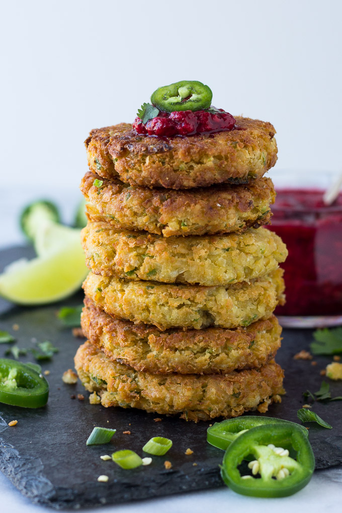 Chickpea Fritters with Jalapeño Raspberry Sauce - nutritious chickpea fritters served with a sweet, spicy kick raspberry sauce! Excellent as an appetizer or for dinner! | Fork in the Kitchen