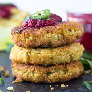 Chickpea Fritters with Jalapeño Raspberry Sauce