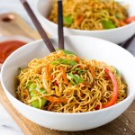 Vegetable Lo Mein for Two - better than take-out, this lo mein is a quick dinner and can easily be doubled! | Fork in the Kitchen
