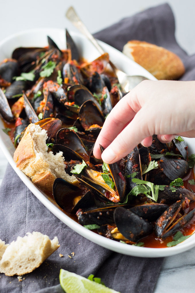 Guajillo Chili Mussels | Fork in the Kitchen - An easy, flavorful, elegant dinner for two!