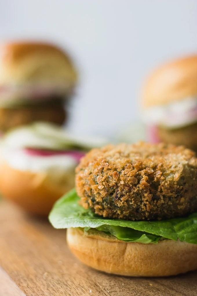 Crispy Falafel Sliders - a flavorful vegetarian meal! | Fork in the Kitchen