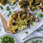 Roasted Cauliflower Steaks - a flavorful spice mix over creamy roasted cauliflower. A simple vegetarian dinner!   Fork in the Kitchen