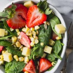 Farmer's Market Strawberry Corn Salad - an easy, simple salad with fresh summer flavors! | Fork in the Kitchen